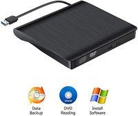 Externes DVD Laufwerk USB3.0, DVD/CD Brenner, tragbar USB CD Laufwerk für alle Laptops und Desktops, Notebook, kompatibel mit Windows XP/ Win8.1/ Wind10/ Vista/7, Linx,Mac10 OS System