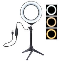 6.2 Zoll LED Ringlicht Selfie Ringleuchte Dimmbar Tischbeleuchtung Set Stative