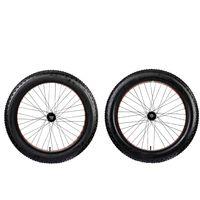 Galano Fatbike Rad 26 Zoll 4 Zoll Laufradsatz Stollenprofil Fatman 4.0 Komplettrad Fat Tyre Fatty Mountainbike, Farbe:orange, Ausführung:vorne und hinten