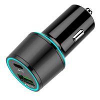 Auto-Ladegerät, USB-C PD Auto-Zigarettenanzünder, Typ C-Auto-Ladegerät QC 3.0 Schnell-Ladegeräte-Schwarz