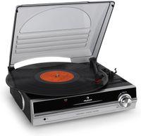 AunaTBA-928 - Plattenspieler mit Lautsprecher, Schallplattenspieler, Riemenantrieb, 33/45 U/min, Start-Stopp-Automatik, 3,5 mm-Klinke, Stereo-Cinch-Li