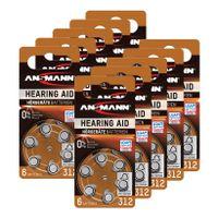 ANSMANN Hörgerätebatterie 312 PR41 AZA312 Zink Luft Knopfzelle 1.4V 60er Pack