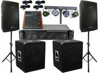 Das Komplett Set 14 DJ 30 cm Boxen Stativ 38 cm Subwoofer Musiker 3000 W Light Bar