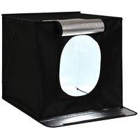 COSTWAY Lichtzelt Beleuchtung Studio, Fotostudio-Leuchtkasten mit LED Beleuchtung, LED-Fotobox Lichtwuerfel, Schiessen Zelt Box mit 5 Hintergrundpapier fuer Fotografie, Produktwerbung 40 x 40 x 40 cm