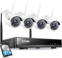 ZOSI 1080P Wireless Kamera System 8CH H.265+ 1080P NVR mit 4 Außen 2.0MP Überwachungskamera Set mit 2TB Festplatte