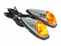 2X Blinker Verkleidungs Tropfen Chrom + Orange Birne Motorrad Moped Mofa Roller
