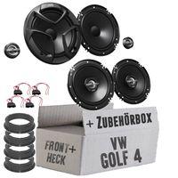 JVC CS-J Komplettset für vorne & hinten - Lautsprecher Einbauset für VW Golf 4 - justSOUND