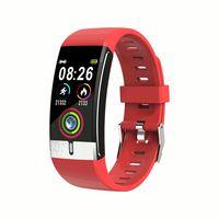 E66 Thermometer EKG + PPG Herzfrequenz Blutdruck Sauerstoffmonitor IP68 Wasserdichte USB-Lade-Smartwatch - Schwarz