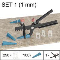 Fliesen Nivelliersystem, Verlegesystem, Verlegehilfe, Set 1 (250 Laschen, 100 Keile, Zange), 1 mm