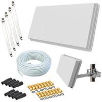 Selfsat H30D4+ Flachantenne Quad + 50m Kabel + Fensterhalterung + 4 Fensterdurchführung + 16 F-Stecker + 8 Wetterschutztüllen (Full HD 4K UHD Sat Anlage für 4 Teilnehmer)