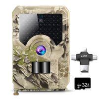 Wildkamera Bewegungsmelder 12MP 1080P mit 32GB SD-Karte, IP65 Wasserdicht, Nachtsicht Jagdkamera Fotofalle 940nm IR LEDs