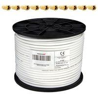 PremiumX 100m Koaxialkabel 135dB 4-fach SAT Koax Kabel für DVB-S DVB-S2 DVB-C DVB-T BK Anlagen RG6 10x F-Stecker