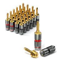 conecto CC50644 Bananenstecker High-End Professionell (100% Kupfer!) für alle Lautsprecherkabel mit einem Durchmesser von max. 6mm², 24 Stück mit Farbcodierung (12x rot, 12x schwarz), 24k vergoldet