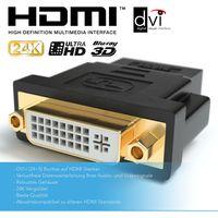 DVI-I zu HDMI Adapter   DVI-I (24+5) Buchse auf HDMI Stecker   Kontakte vergoldet