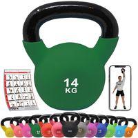 Kettlebell Neopren 2-26 kg Kugelhantel bodenschonende Schwunghantel Gewicht: 14 kg (Grün)