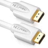 deleyCON 2m DisplayPort Kabel - 4K 2160p 3D HDCP - DP (20 Pin) Stecker auf DP (20 Pin) Stecker - PC Notebook Monitor Grafikkarte - Weiß