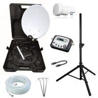 Camping SAT Koffer Schüssel mit HD single LNB und 10m Kabel + Digital SAT-Finder + Dreibein Stativ bis 150cm (mobile Sat Anlage 1 Teilnehmer)