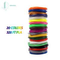 IDRAWING Hochpräzises 1,75-mm-PLA-Filament umweltfreundliches Material 3D-Stift-Filament-Minen 20 Farben (insgesamt 328FT))