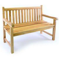 VCM 2-Sitzer Gartenbank Parkbank hochwertig massiv Teak Holz natur 120 cm