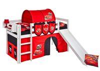 Lilokids Spielbett JELLE Disney Cars - Hochbett - weiß - mit Rutsche und Vorhang - Maße: 113 cm x 208 cm x 98 cm; JELLE3054KWR-CARS