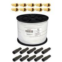 PremiumX 100m Koaxialkabel 135 dB 4-fach geschirmt CCS Kupfer-Stahl + Gummidichtung für LNB Gummitülle + F-Stecker