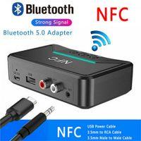 Drahtloser Bluetooth 5.0 Empfänger 3,5mm Buchse AUX NFC zu 2 Cinch Audio Stereo Adapter