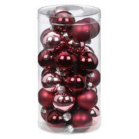 Weihnachtskugeln Glas 4cm, 30 Stück, Farbe:Berry Kiss ( Beere glanz / matt )