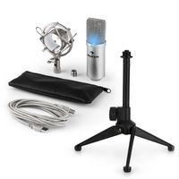auna MIC-900S-LED USB Mikrofonset V1 , silbernes Kondensator-Mikrofon , höhenverstellbares Tischstativ