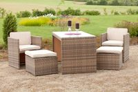 Merxx Balkonset Merano 11-tlg.,  2 Sessel + 2 Hocker + 1 Tisch, Farbe Savannagrau/Beige