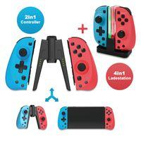 EAXUS® 2er Set Joy Con Controller für Nintendo Switch inkl. Joycon Ladestation Wireless Gamepad 🗸Verbindungsstück 🗸Dual Vibration 🗸