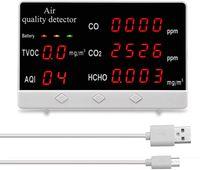 CO2 Messgerät Kohlendioxid Melder CO CO2 HCHO TVOC-Detektor Multifunktionale Digitalanzeige Hochgenauer Luftqualitätsanalysator Monitor für Zuhause Büro Auto Außen Innen
