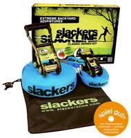 Slackers USA Slackline Classic 15m, Set mit zusätzlicher Teaching Line, Handlauf zum leichten Erlernen, Ratschenschutz, Anleitung, Tasche, ideal für Kinder und Familie