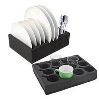 Geschirrhalter   Tassenhalter und Tellerhalter   schwarz   Schaumstoff