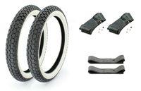 Set: 2 Continental Weißwand Reifen KKS10 2,25 x 19 Zoll, 2 Schläuche und 2 Felgenbänder für Moped, Mofa 50ccm