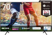 Hisense 70AE7000F 178 cm (70 Zoll) Fernseher (4K Ultra HD, HDR, Triple Tuner DVB-C/ S/ S2/ T/ T2, Smart-TV, Frameless, Bluetooth, Alexa, verstellbare Standfüße)