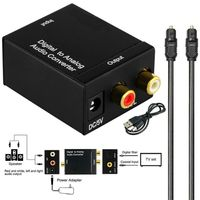 Audio Konverter Adapter Koaxial Toslink Optisch Digital zu auf Analog Cinch R/L Kabeladapter Audiokabel Digitaler Audiokonverter Schwarz
