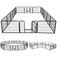 Yaheetech 16 eckig  Welpenlaufstall Freigehege Welpenzaun Gehege Laufstall mit 2 Türen, aus 16 Panelen je Panel 80 x 60 cm Outdoor oder Indoor