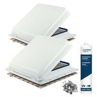 2x Dachfenster Fiamma Vent 40x40 cm Weiß + Dichmittel + Schrauben