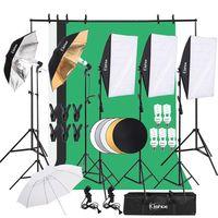 KS01 Professionelles Fotostudio-Set Hintergrund Stš¹tzsystem Softbox Dauerlicht Set 5500K Regenschirm mit 2M-Stativ fš¹r Portr?ts, Produktfotografie und Videoaufnahme