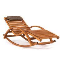 Ampel 24 Relax Schaukelstuhl Belo, Relaxliege mit Armlehnen und Kopfkissen, Gartenliege komplett aus Holz, Stuhl mit Querlatten