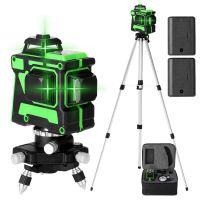 Kreuzlinienlaser profi  3D Laser Level 12 Lines Grünes 360º Rotationslaser Automatische Kreuzlinienlaser (Arbeitsbereich: 30 m) mit 1,5 m 3 Höhen verstellbarem stativ IP54 Staub & Wasserschutz Kreuzlinienlaser mit zwei Batterien