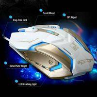 1600DPI Kabellos USB Gaming Maus Wireless LED Mouse Optisch Funkmaus für Computer Laptop PC Weiß