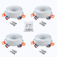 ZOSI 4X 30 Meter Video Strom Kabel BNC Verlängerungskabel für CCTV 4K 5MP 1080P DVR Überwachungskamera System, Mit 100x Kabelklemmen
