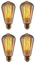 Edison Glühbirne, E27 Vintage Globe Glühlampe 40W ST64 Retro Birne  Filament Warmweiß Dekorative Glühbirne Ideal für Nostalgie und Antike Beleuchtung - 4 Stück