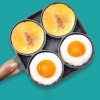 4-Loch-Omelettpfanne Kochtopf mit Holzgriff und Bratpfanne