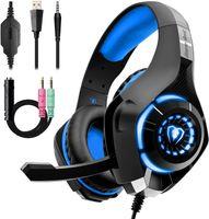 Kopfhörer Gaming Headset PC für PS4, Xbox one, Laptop Mac Handy Tablet Beexcellent GM-1, Blau, (Deutsches Inventar)