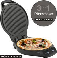 Melissa 16250069 3 in 1 Pizzamaschine 3 in 1 perfekt als Pizzabäcker, Kontaktgrill / Tischgrill oder Burger / Panini Maker