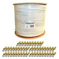 PremiumX 500m 135dB Koaxial SAT Kabel Antennenkabel Koaxkabel 4-fach DVB-S / S2 DVB-C DVB-T BK Anlagen 100x F-Stecker