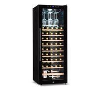 Klarstein Barossa 54S - Weinkühlschrank, Weinkühler, Weintemperierschrank, 148 Liter, 54 Flaschen, 5 bis 18°C, Glastür, LCD-Anzeige, LED-Beleuchtung, Touchbedienung, schwarz