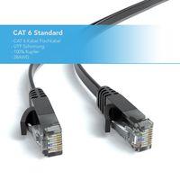 JAMEGA – 20m CAT.6 | schwarz Netzwerkkabel / Flachbandkabel Patchkabel Ethernet Lan / RJ45 Kabel Verlegekabel Flach | 1 Gbit/s | 250Mhz | kompatibel zu CAT.5 / Cat.5e / CAT.6 | schwarz